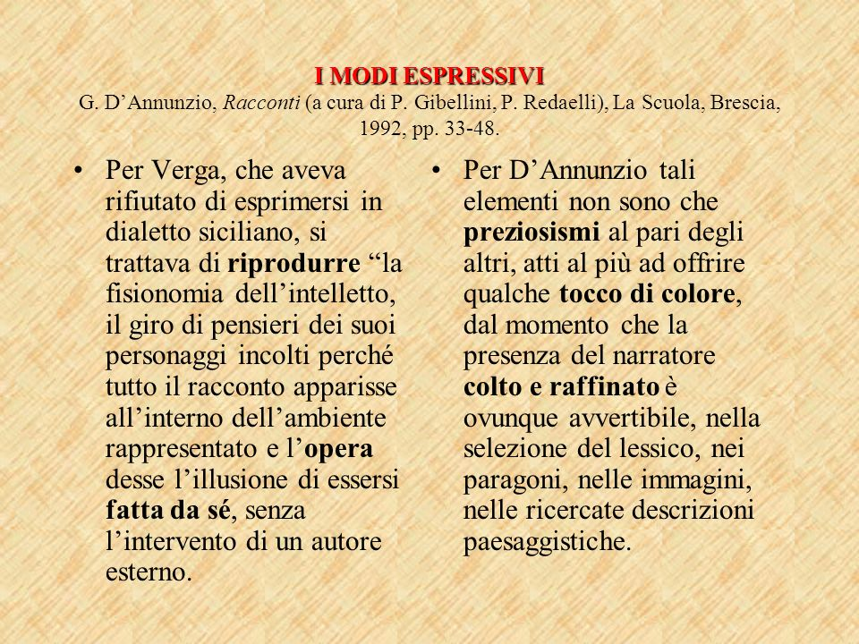 I MODI ESPRESSIVI G. D'Annunzio, Racconti (a cura di P. Gibellini, P