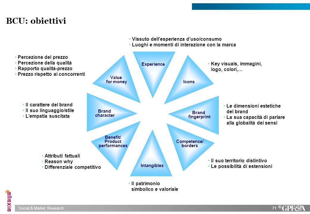 BCU: obiettivi Vissuto dell'esperienza d'uso/consumo