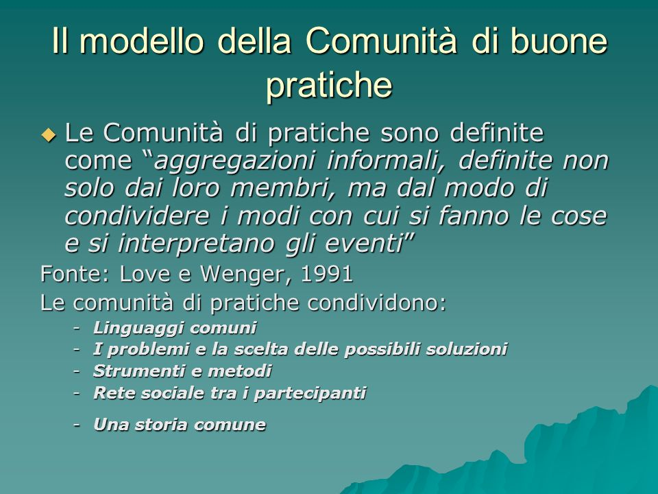 Il modello della Comunità di buone pratiche