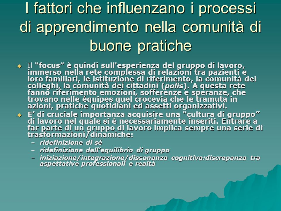 I fattori che influenzano i processi di apprendimento nella comunità di buone pratiche