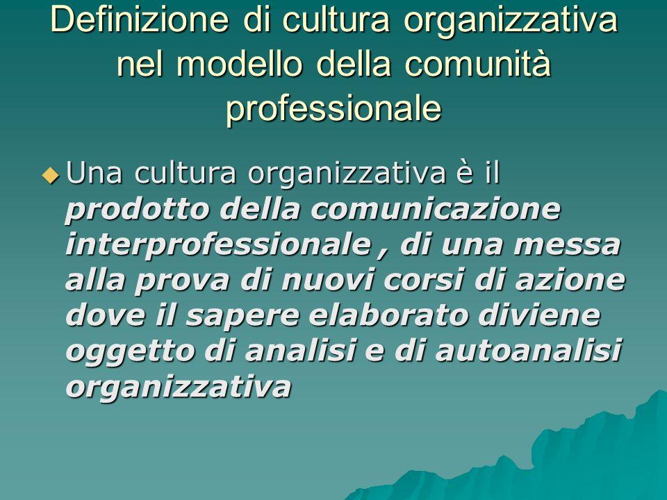 Definizione di cultura organizzativa nel modello della comunità professionale