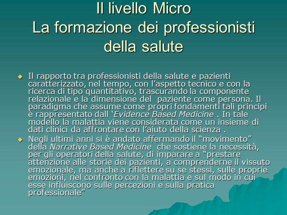 Il livello Micro La formazione dei professionisti della salute