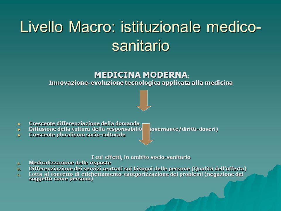 Livello Macro: istituzionale medico-sanitario