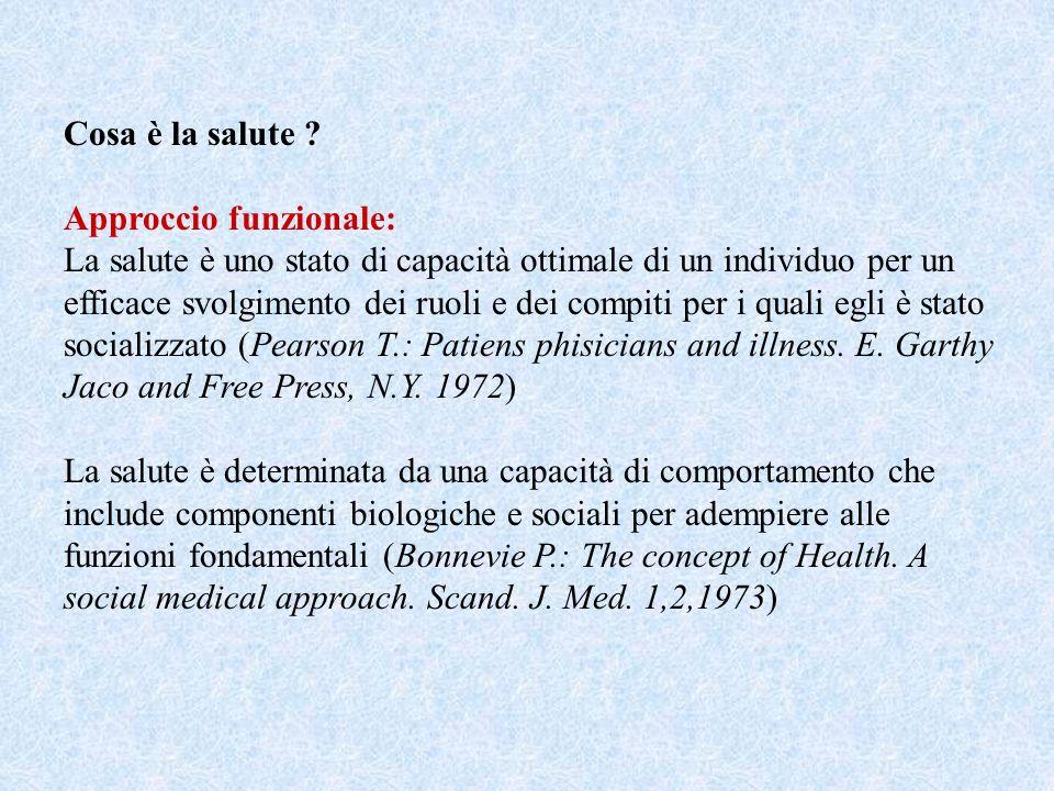 Cosa è la salute Approccio funzionale: