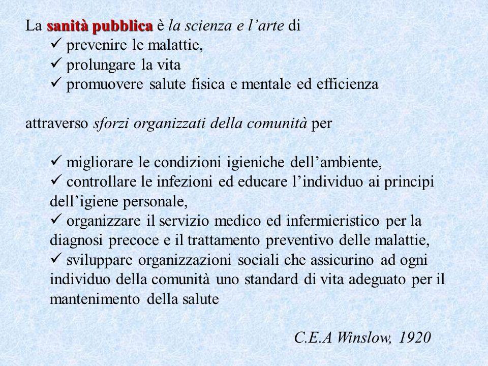 La sanità pubblica è la scienza e l'arte di