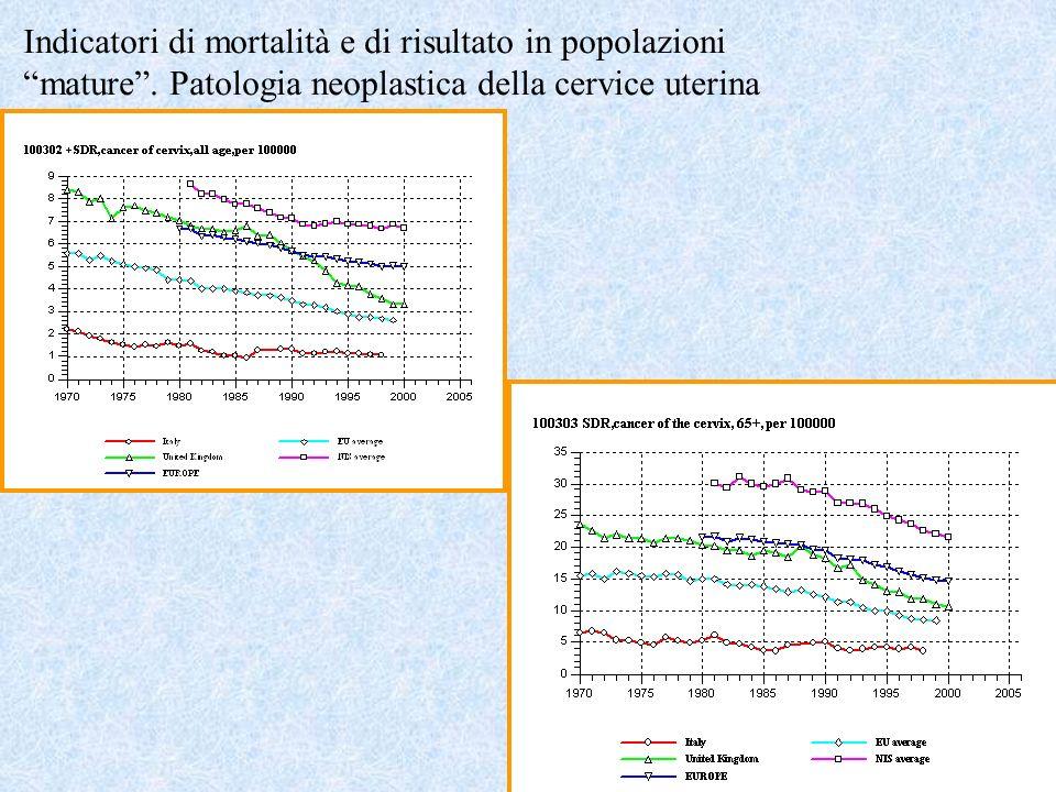 Indicatori di mortalità e di risultato in popolazioni mature
