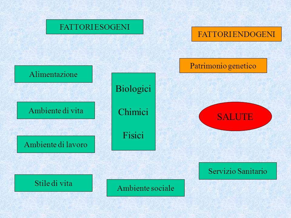 Biologici Chimici Fisici SALUTE FATTORI ESOGENI FATTORI ENDOGENI