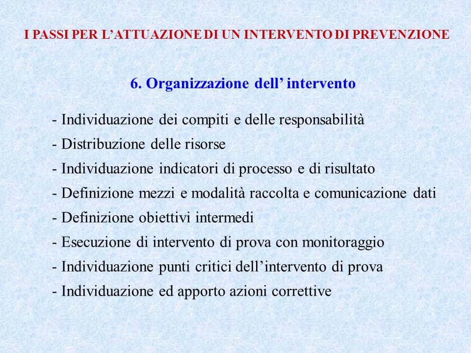 6. Organizzazione dell' intervento