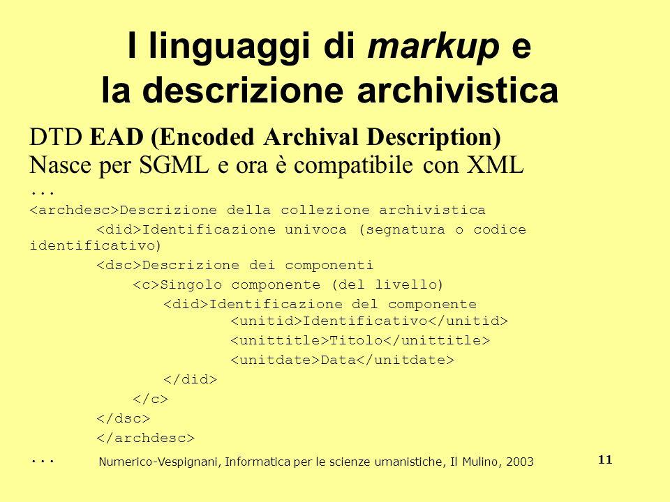 I linguaggi di markup e la descrizione archivistica
