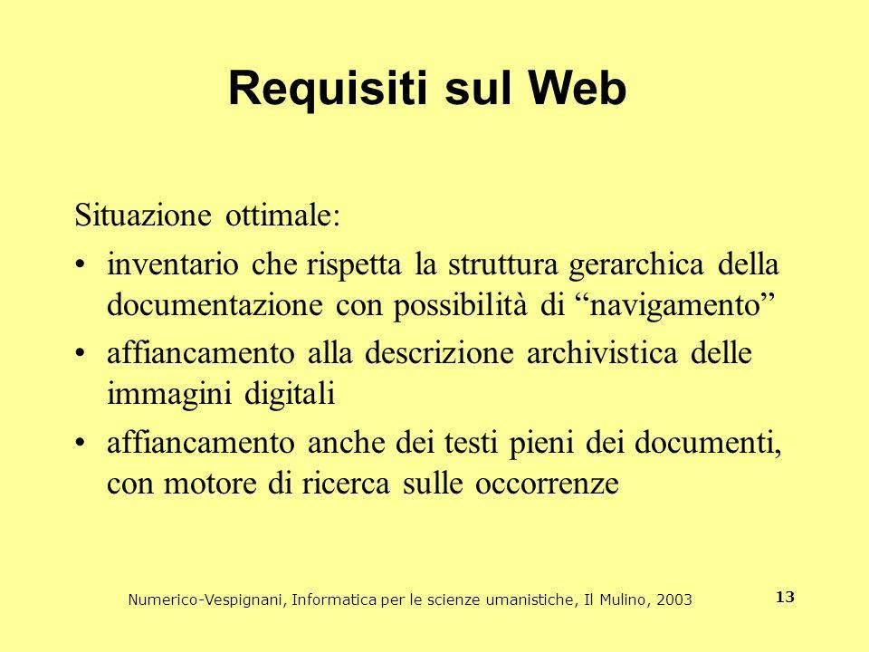 Requisiti sul Web Situazione ottimale: