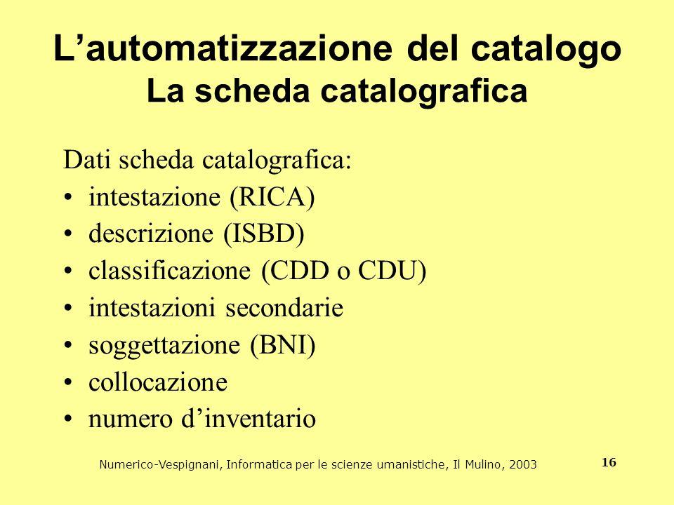 L'automatizzazione del catalogo La scheda catalografica