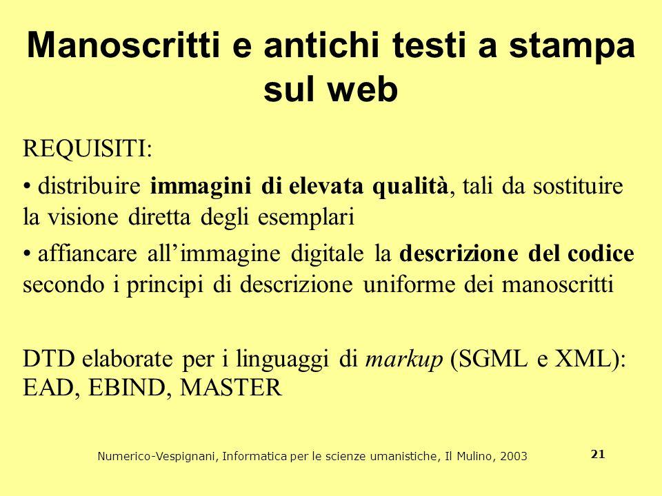 Manoscritti e antichi testi a stampa sul web