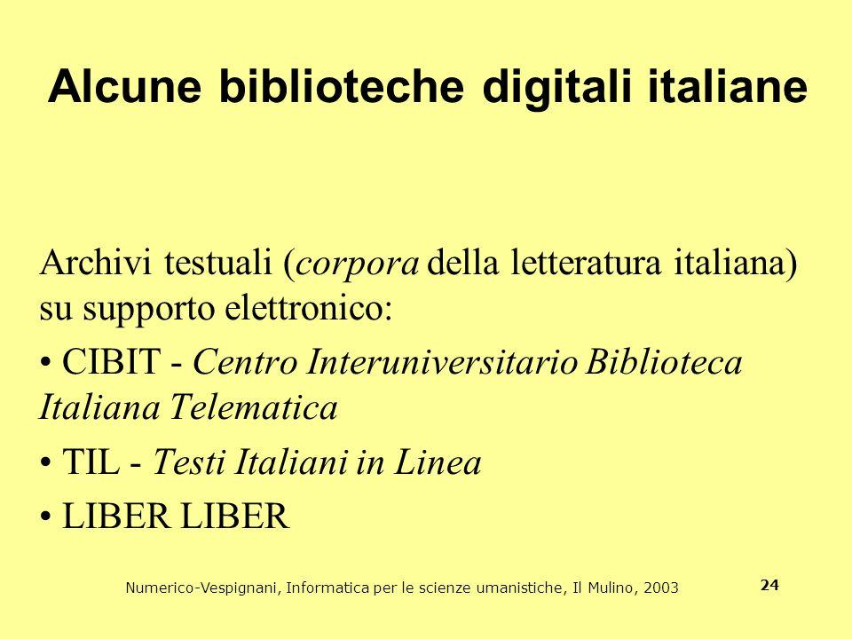 Alcune biblioteche digitali italiane