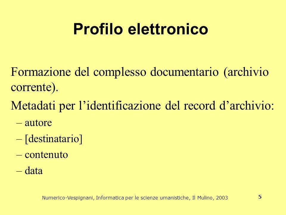 Profilo elettronico Formazione del complesso documentario (archivio corrente). Metadati per l'identificazione del record d'archivio: