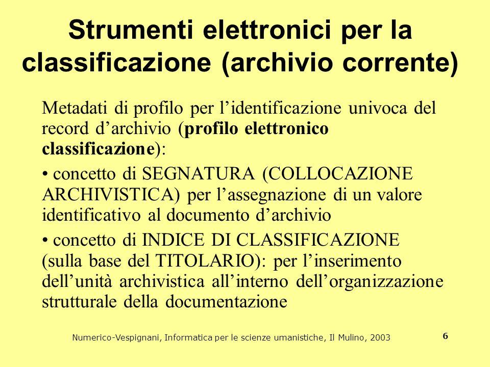 Strumenti elettronici per la classificazione (archivio corrente)