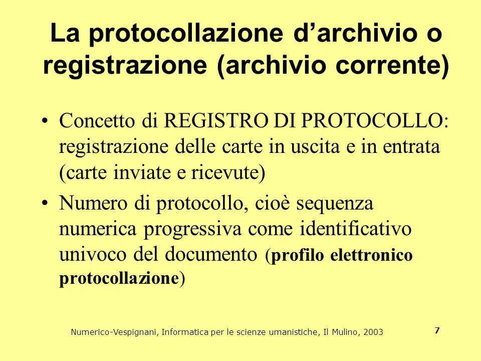 La protocollazione d'archivio o registrazione (archivio corrente)
