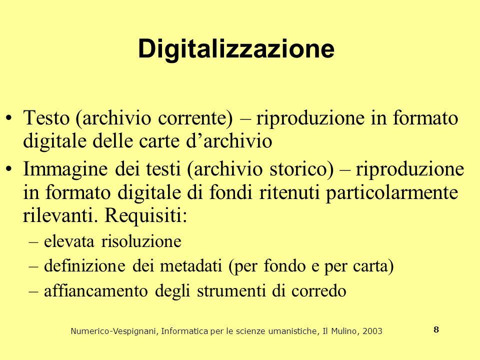 Digitalizzazione Testo (archivio corrente) – riproduzione in formato digitale delle carte d'archivio.