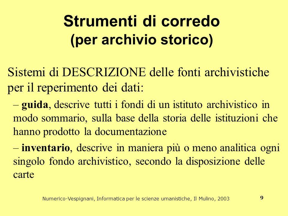 Strumenti di corredo (per archivio storico)