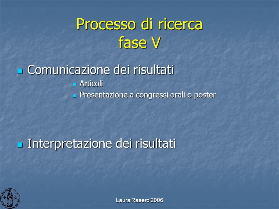 Processo di ricerca fase V
