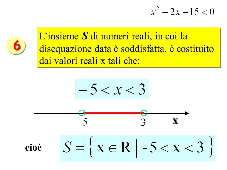 L'insieme S di numeri reali, in cui la disequazione data è soddisfatta, è costituito dai valori reali x tali che: