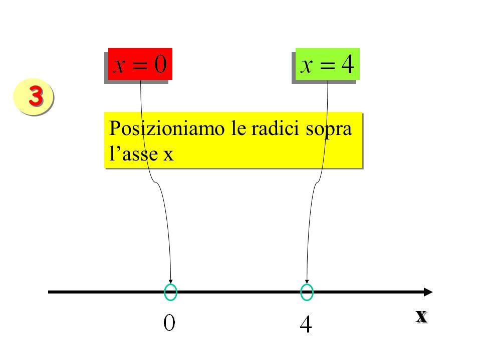 3 Posizioniamo le radici sopra l'asse x x