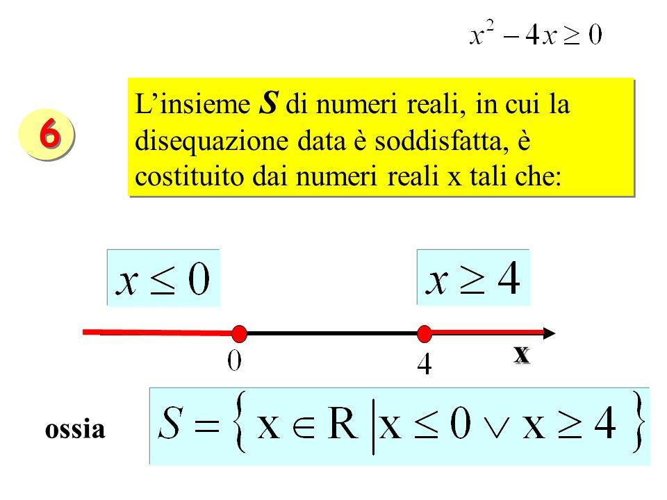 L'insieme S di numeri reali, in cui la disequazione data è soddisfatta, è costituito dai numeri reali x tali che:
