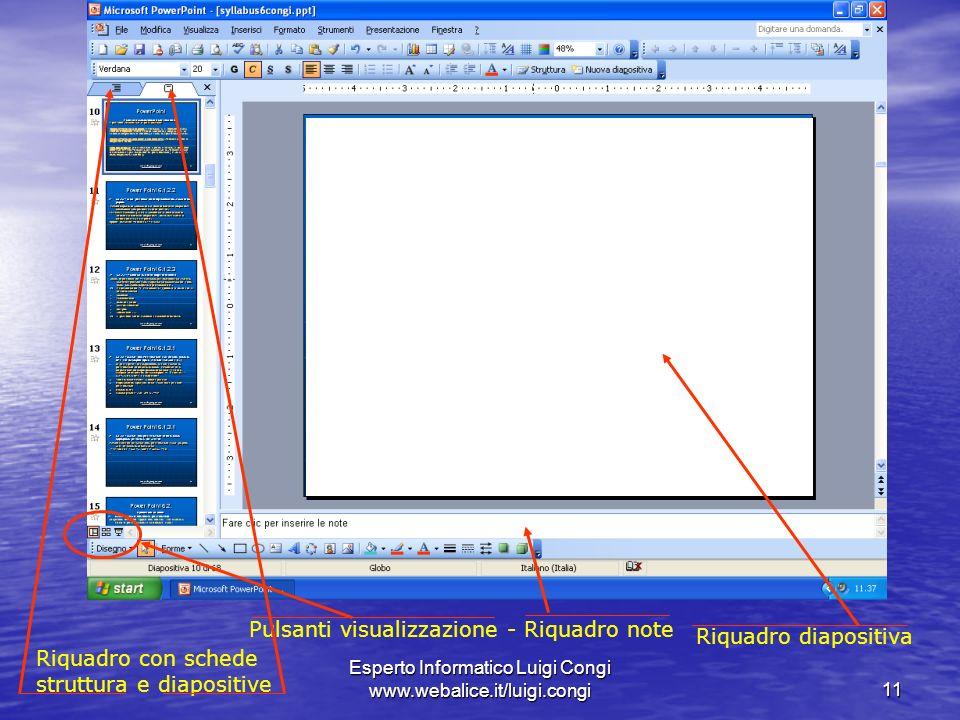 Pulsanti visualizzazione - Riquadro note Riquadro diapositiva