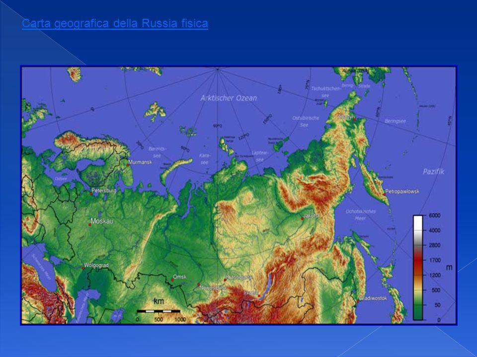Carta geografica della Russia fisica