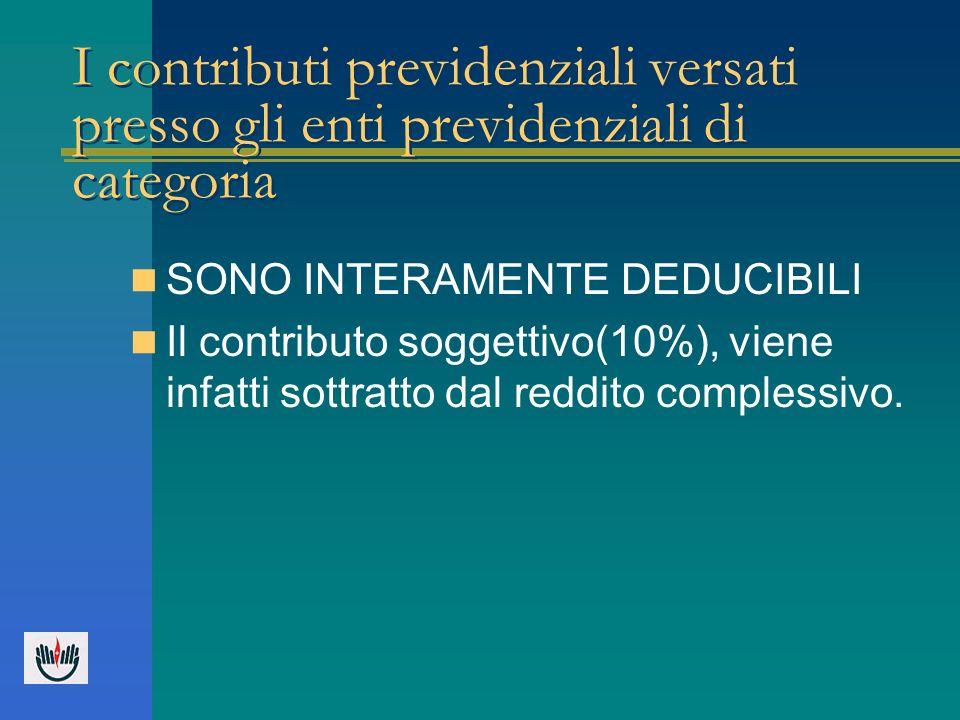 I contributi previdenziali versati presso gli enti previdenziali di categoria