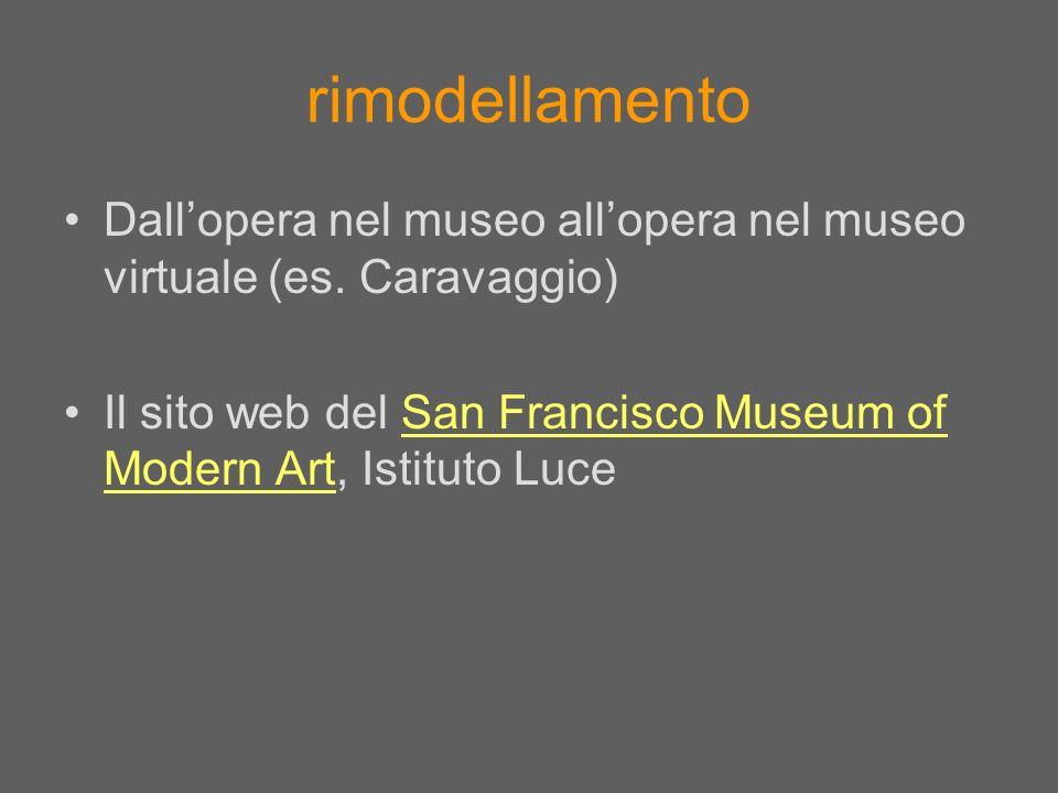 rimodellamento Dall'opera nel museo all'opera nel museo virtuale (es.