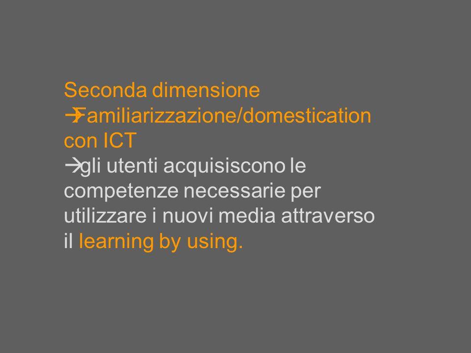 Seconda dimensione Familiarizzazione/domestication con ICT.