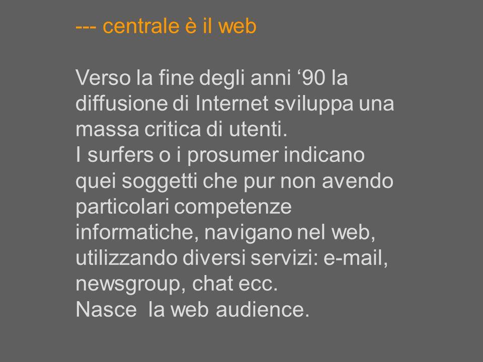 --- centrale è il web Verso la fine degli anni '90 la diffusione di Internet sviluppa una massa critica di utenti.