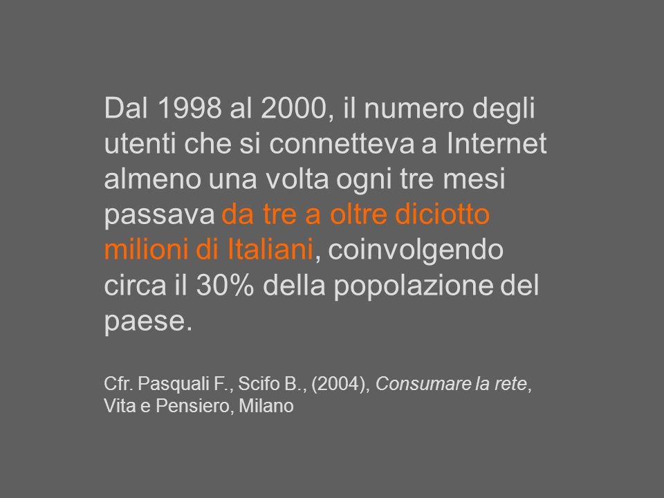 Dal 1998 al 2000, il numero degli utenti che si connetteva a Internet almeno una volta ogni tre mesi passava da tre a oltre diciotto milioni di Italiani, coinvolgendo circa il 30% della popolazione del paese.