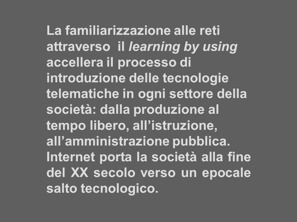 La familiarizzazione alle reti attraverso il learning by using accellera il processo di introduzione delle tecnologie telematiche in ogni settore della società: dalla produzione al tempo libero, all'istruzione, all'amministrazione pubblica.