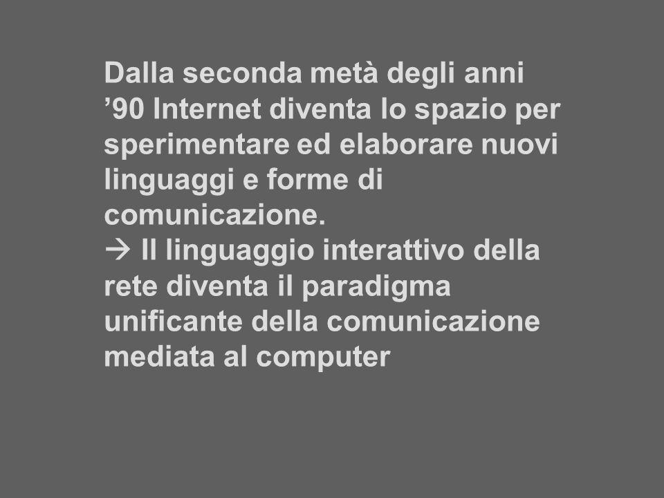 Dalla seconda metà degli anni '90 Internet diventa lo spazio per sperimentare ed elaborare nuovi linguaggi e forme di comunicazione.