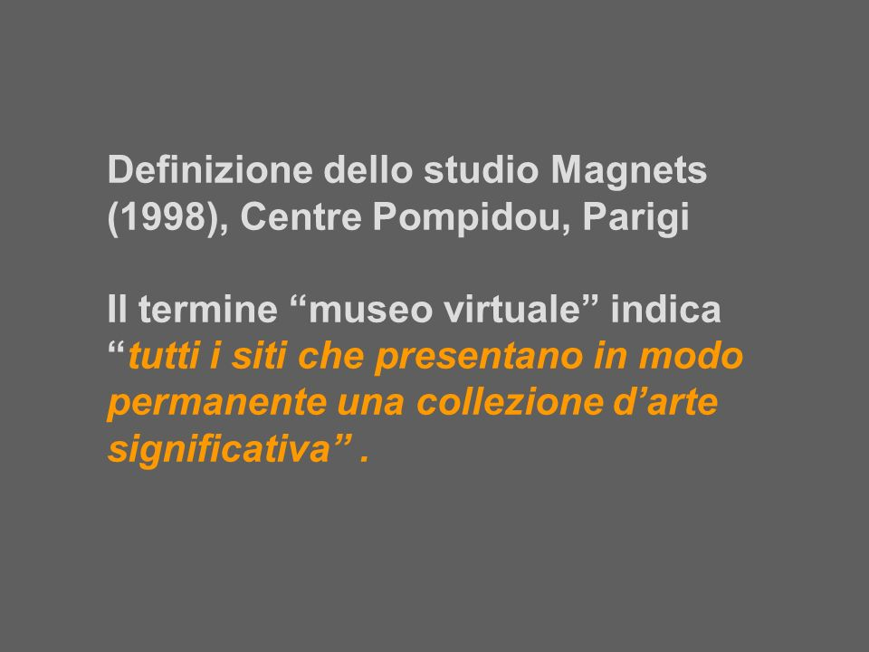 Definizione dello studio Magnets (1998), Centre Pompidou, Parigi