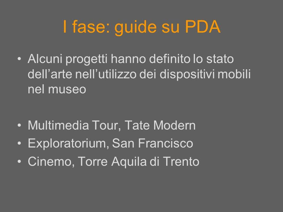 I fase: guide su PDA Alcuni progetti hanno definito lo stato dell'arte nell'utilizzo dei dispositivi mobili nel museo.