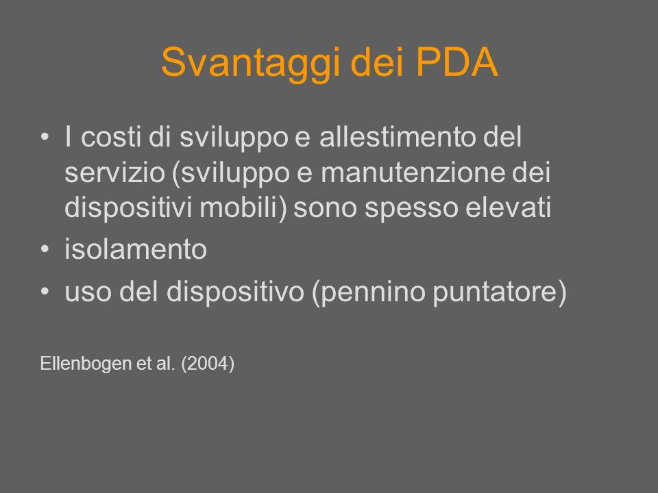 Svantaggi dei PDA I costi di sviluppo e allestimento del servizio (sviluppo e manutenzione dei dispositivi mobili) sono spesso elevati.