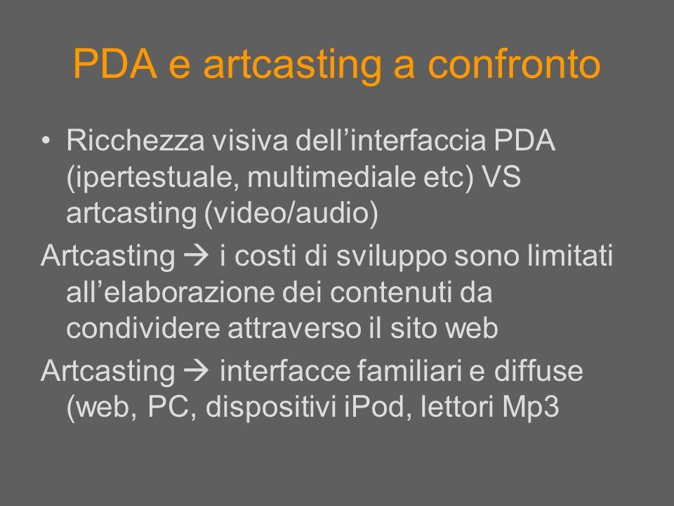 PDA e artcasting a confronto
