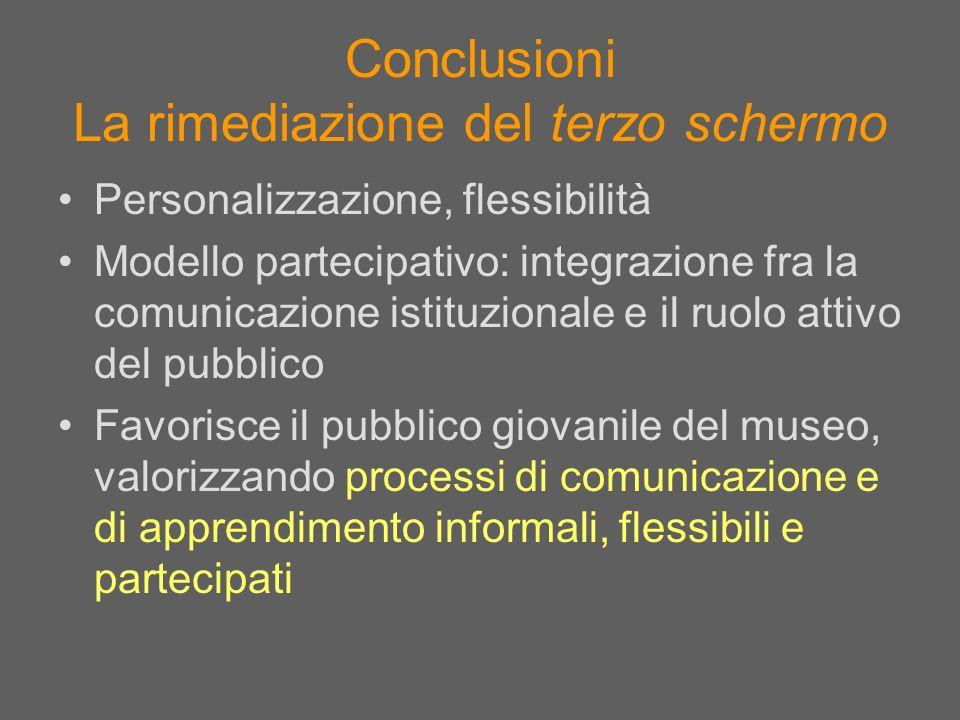 Conclusioni La rimediazione del terzo schermo