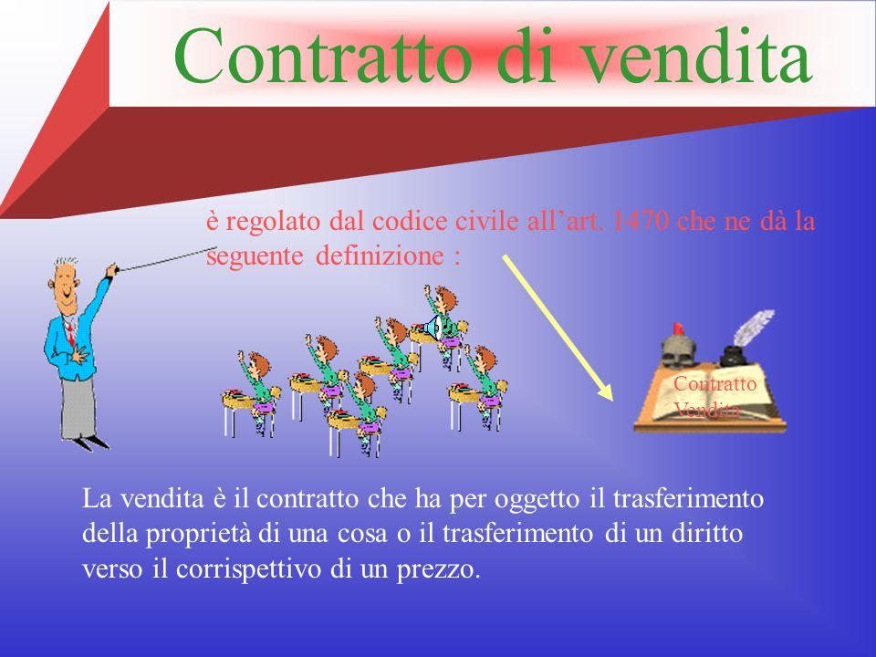 Contratto di vendita è regolato dal codice civile all'art. 1470 che ne dà la seguente definizione :