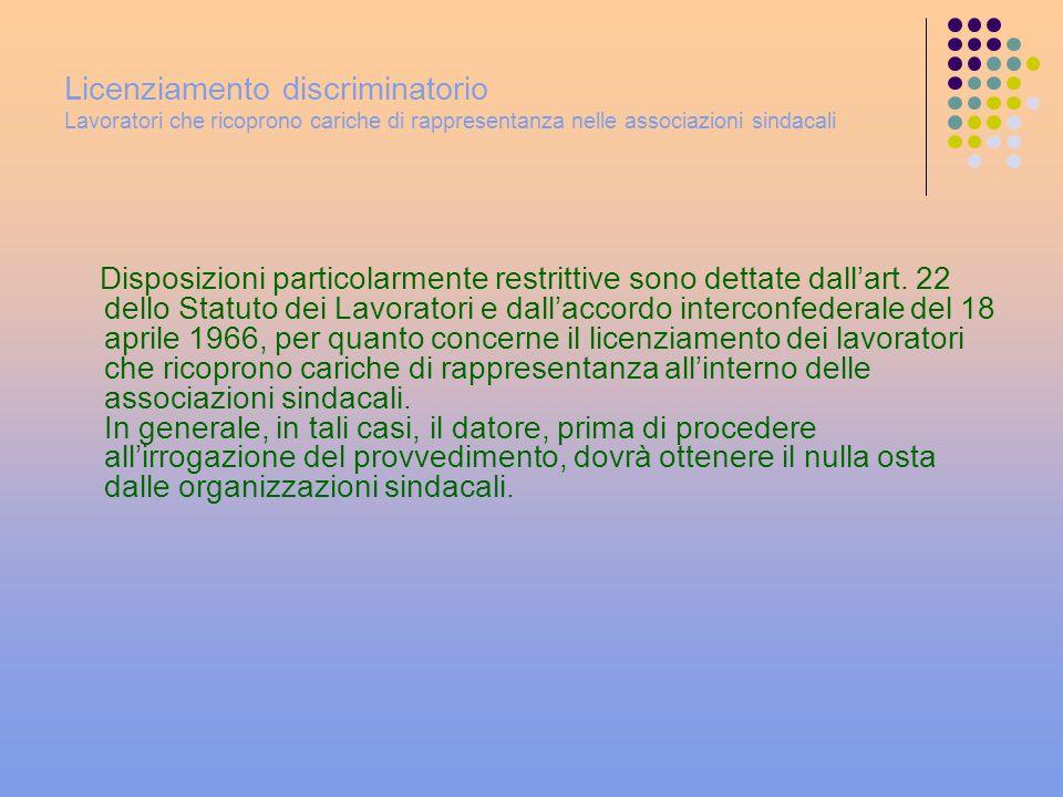 Licenziamento discriminatorio Lavoratori che ricoprono cariche di rappresentanza nelle associazioni sindacali