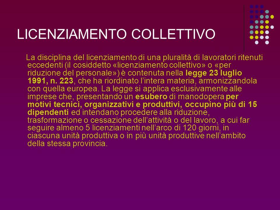 LICENZIAMENTO COLLETTIVO