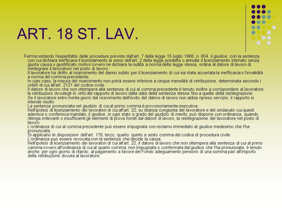 ART. 18 ST. LAV.