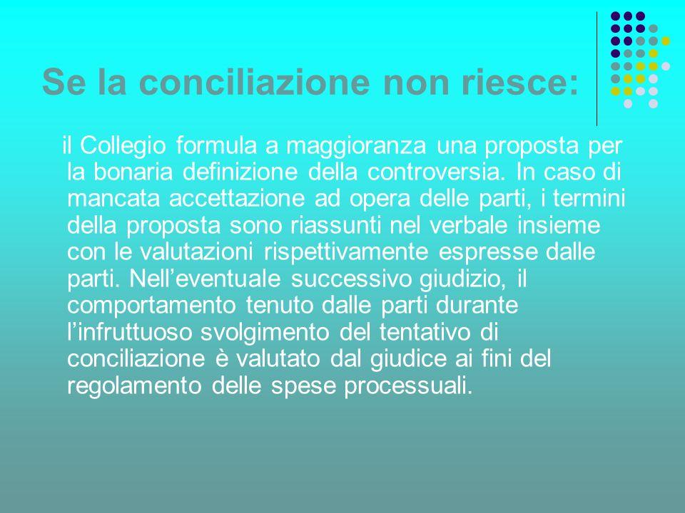 Se la conciliazione non riesce: