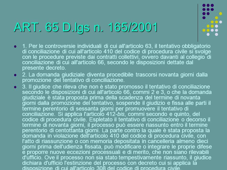 ART. 65 D.lgs n. 165/2001
