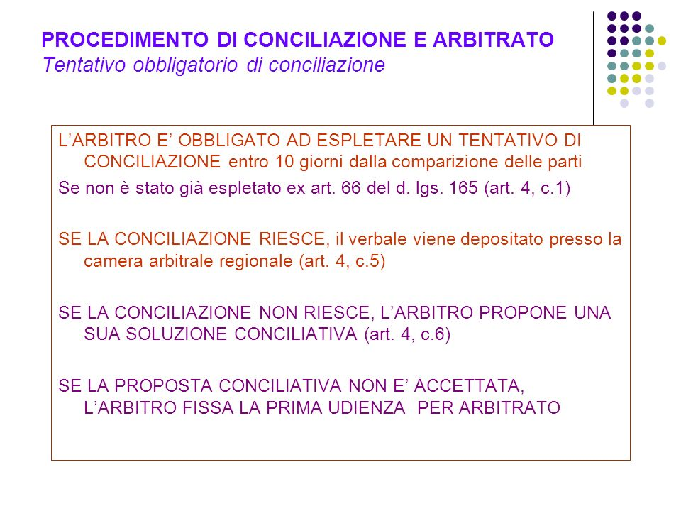 PROCEDIMENTO DI CONCILIAZIONE E ARBITRATO Tentativo obbligatorio di conciliazione