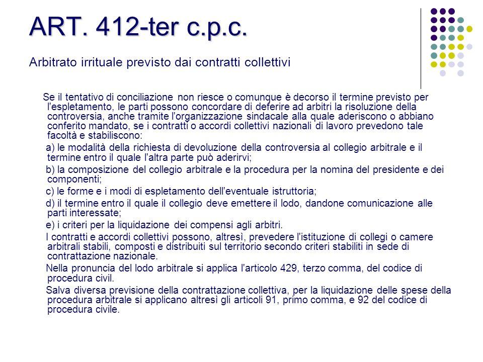ART. 412-ter c.p.c. Arbitrato irrituale previsto dai contratti collettivi