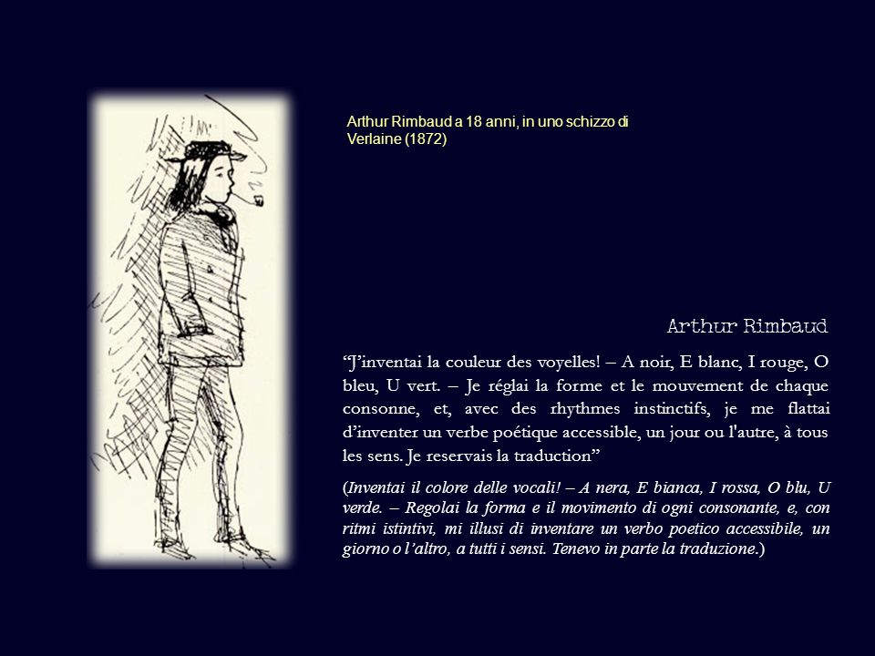Arthur Rimbaud a 18 anni, in uno schizzo di Verlaine (1872)