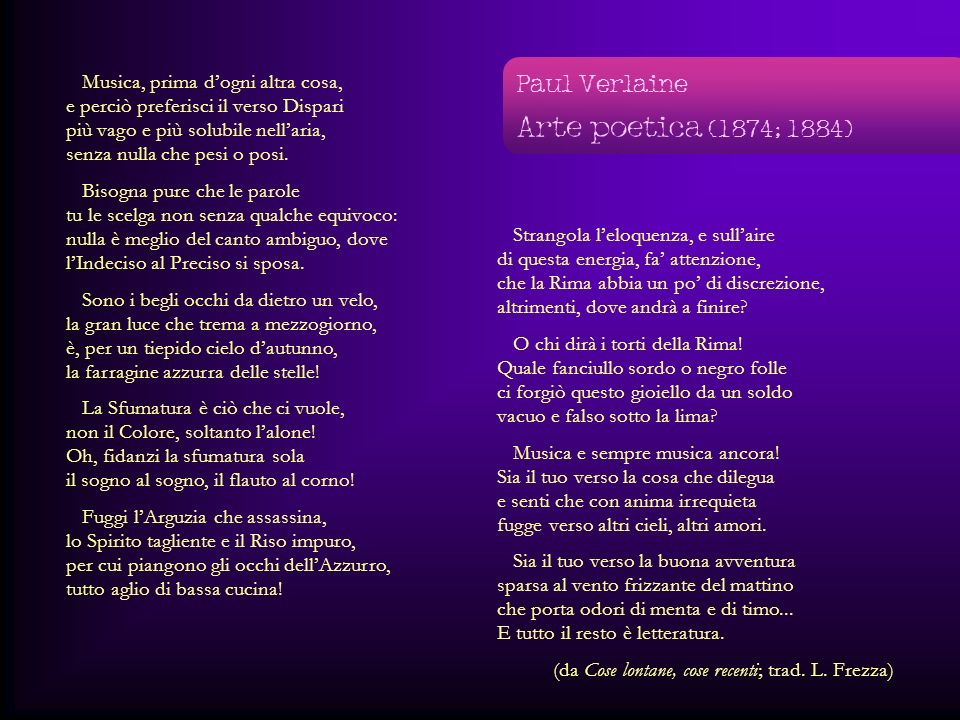 Arte poetica (1874; 1884) Paul Verlaine